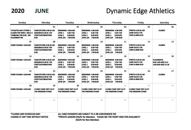 Updated June calendar